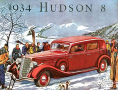 Hudson 8 1934 advertising poster reproduction