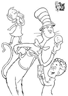 The Cat In Hat Playing With Kids Coloring Sheet