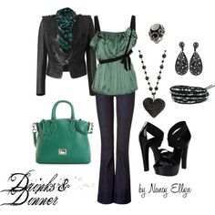 """Drinks & Dinner~Denim~Leather~Seafoam Green"" by nancy-ellyn on Polyvore"