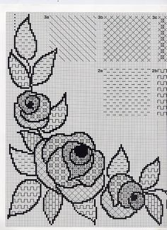 Blackwork & cross-stitch roses corner-piece: would look lovely in shades of red and green. Motifs Blackwork, Blackwork Cross Stitch, Blackwork Embroidery, Cross Stitch Borders, Cross Stitch Flowers, Cross Stitch Designs, Cross Stitching, Cross Stitch Embroidery, Embroidery Patterns