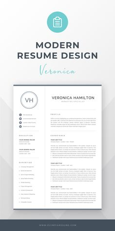 Resume Template with Monogram Creative Cv Template, One Page Resume Template, Modern Resume Template, Modern Design, Cv Design, Graphic Design, Cv Words, Resume References, Cover Letter For Resume