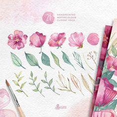 Watercolour Floral Clipart: 21 files Digital Paper Pack. Handmade, watercolour clipart, wedding diy