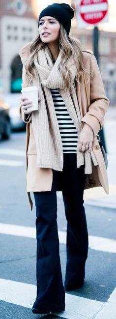 Joe Fresh Striped Sweater c/o // Loft Camel Belted Coat // Chloé Drew Bag // Forever 21 Camel Scarf // Forever 21 Black Beanie // Glamorous Dark Wash Flare Jeans c/o