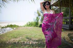 #Fuchsia #chiffon #silk #beach #destination #wedding #sarong #pareo #wrap or by BorneoBatikraft