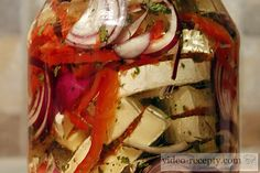 Pickled Camembert cheese - repices and videorecipes Recipes Appetizers And Snacks, Ratatouille, Caprese Salad, Food Videos, Pickles, Camembert Cheese, Grilling, Sandwiches, Homemade
