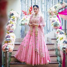Trending designer lehengas for bride in shades of pink as in inspiration for a gorgeous look. Pick your bollywood style lehenga outfit before you choose online wedding vendor to buy one for you. Pink Bridal Lehenga, Wedding Lehnga, Indian Bridal Lehenga, Indian Bridal Outfits, Indian Bridal Wear, Indian Dresses, Bridal Dresses, Red Lehenga, Wedding Hijab