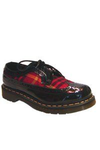 Dr. Martens - 3 eye - Wingtip shoe - black patent and red tartan