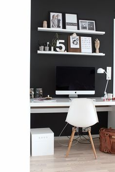 black wall home office from tonje boganes