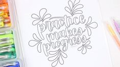 coloring pages to print Adult coloring has been around for a while and I always hear people say how relaxing it is. Ill be honest, I dont find this to be the case for me at least Coloring Pages To Print, Free Coloring, Doodle Coloring, Free Printable Coloring Pages, Adult Coloring, Brush Lettering Quotes, Lettering Ideas, Doodle Lettering, Hand Drawn Lettering