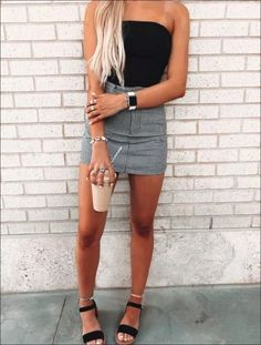 cute summer outfits 2020 + Spring Outfits - cute summer outfits for teens Cute Casual Outfits, Cute Summer Outfits, Unique Outfits, Spring Outfits, Cute Vegas Outfits, Party Outfit Summer, Casual Date Outfit Summer, Tumblr Summer Outfits, August Outfits