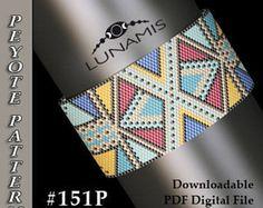 bracelet peyote pattern,  bracelet design, odd count peyote, stitch pattern, pdf file, pdf pattern, #151P