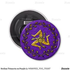 Sicilian Trinacria on Purple Bottle Opener