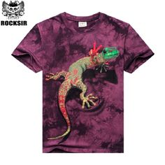 [Rock Sir] Men Shirts Short Sleeve Cotton Rocksir O-Neck Personalized Tshirt 3D Water Printed T Shirt Man T-Shirt Swag Clothes