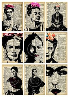 Ideas For Collage Art Woman Frida Kahlo - Best Nail Art Diego Rivera, Art Du Collage, Digital Collage, Collage Sheet, Collage Portrait, Digital Art, Frida E Diego, Frida Art, Gcse Art
