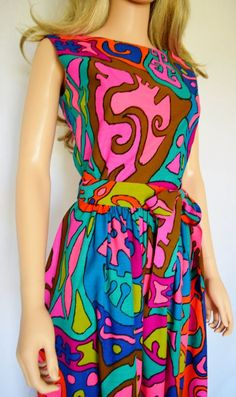 676dd69224 Vintage 1960 s FRITZI PoP Art MoD HiPPiE BuTTeRfLY SuN FLoWeR PoWeR MiNi Go  Go Dress M