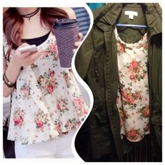 Girly girl hp 7/24 Add a jacket for cooler days Floral top. Polyester.  See measurement Tops