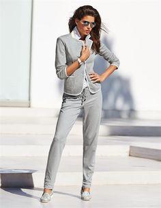 Jerseyblazer in der Farbe grau / weiß - grau, weiß - im MADELEINE Mode Onlineshop