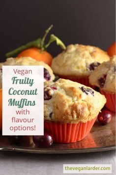 This yummy vegan muffin recipe is super easy to make and comes with lots of different flavour ideas so you can use up whatever fruit you have to hand! The coconut adds something extra to the flavour, but can be left out too. #vegan #baking #veganrecipe #veganmuffinrecipe #muffin #coconut #fruit Coconut Muffins, Vegan Muffins, Dessert Games, My Dessert, Vegan Baking Recipes, Muffin Recipes, Vegan Sweets, Vegan Desserts, Orange Muffins