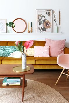 colorful mid-century modern living room ideas with an art ledge. how to style a mid-century modern living room for your dream home. Living Room Sofa, Home Living Room, Living Room Furniture, Living Room Designs, Living Room Decor, Velvet Furniture, Upholstered Furniture, Living Room Yellow, Office Furniture