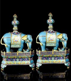 A Pair Large Chinese Gilt Cloisonne Enamel Bronze Elephants With Base