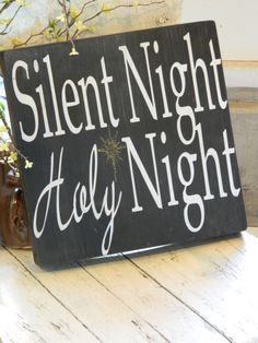 Christmas sign Silent NightHoly Night sign by CountryFolksCreation, $25.00