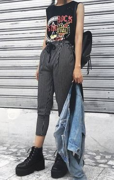 Sleeveless printed tee with striped pants, denim jacket & platform combat boots by cooltured - #grunge #alternative #fashion