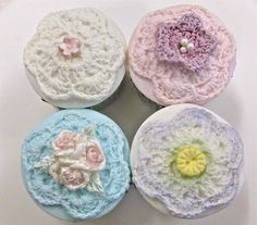 The Crochet Cup Cake Top Mould is part of our crochet mould range. Try adding flowers, hearts etc to decorate. The flower can be moulded without the cup cake edge to combine with the flowers from our crochet flower and leaf mould.  http://www.karendaviescakes.co.uk/Cup_Cake_Moulds/?p=199_Cup_Cake_Top