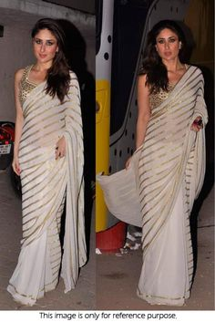 Bollywood celebrities have given a new dimension to the Indian Saree giving a whole new range of variety to shoppers. Saree worn by Bollywood celebrities have became the latest trend setters for style. Bollywood Designer Sarees, Bollywood Saree, Bollywood Fashion, Bollywood Celebrities, Indian Dresses, Indian Outfits, White And Gold Saree, Silk Saree Blouse Designs, Blouse Patterns