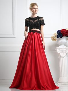 Black and Red Two Piece Dress by Cinderella Divine CR747