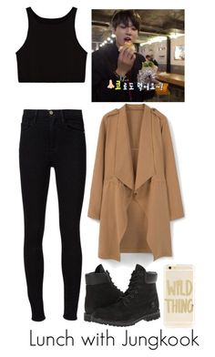 """""""Lunch with Jungkook"""" by btsoutfits-1 ❤ liked on Polyvore featuring Frame, MANGO, Timberland and Sonix"""