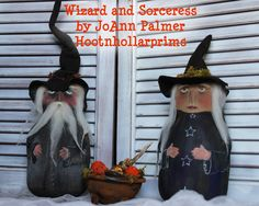 Sorceress and Wizard by JoAnn Palmer $125.00 for the pair (cauldron included)  SOLD https://www.facebook.com/HootnhollarprimsByJoannPalmer?ref=hl