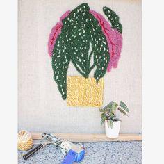 Angel wing begonia prior to sculpting. .  Tufted with a cut pile tufting gun from @this_is_tim_eads . . . #punchneedle #punchneedlekit #rughookingkit #kit #tufting #plants #plantlady #begonia Rug Hooking Kits, Punch Needle Kits, Begonia, Hello Everyone, Custom Homes, Fiber Art, Sculpting, Gun, Solar