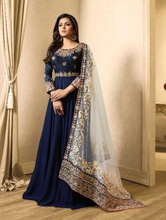 Georgette and Art Silk Abay. Pakistani Long Dresses, Pakistani Outfits, Indian Outfits, Indian Clothes, Asian Party Wear, Party Wear Indian Dresses, Abaya Fashion, India Fashion, Fashion Dresses