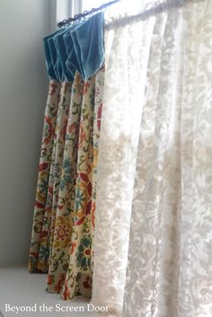 Kitchen Cafe Curtain and Valance - Sonya Hamilton Designs Modern Curtains, Cafe Curtains, Colorful Curtains, Kitchen Curtains, Office Curtains, Kitchen Window Dressing, White Subway Tiles, Brown Cabinets, Kitchen Window Treatments