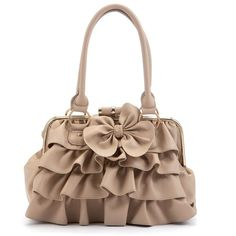 Kelly Brook Mink Ruffle Bow Bowler Bag ($50) ❤ liked on Polyvore featuring bags, handbags, accessories, purses, brown handbags, bowling bag, ruffle handbag, bowler handbags and man bag