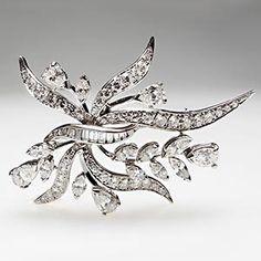 Estate Ribbon Foliate Diamond Brooch Pin Pendant Solid 18K White Gold Jewelry   eBay