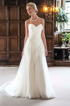 Bridal Gowns: Augusta Jones A-Line Wedding Dress with Sweetheart Neckline and Natural Waist Waistline