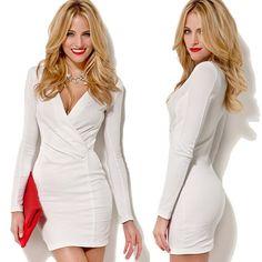 Fashion Women Bandage Bodycon Long Sleeve Evening Sexy Party Cocktail Mini Dress WHITE
