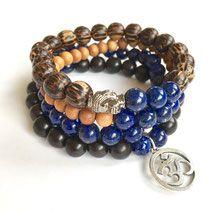 Wisdom Warrior Men's Mala Bracelet www. Bracelet Size Chart, Bracelet Sizes, Yoga Mala, Buddha Head, Crystal Meanings, Yoga For Men, Yoga Jewelry, Men's Collection, Lapis Lazuli
