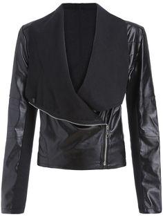 f55ceb6409f9 Black Lapel Oblique Zipper Crop Jacket Herbst Kleiderschrank, Polyvore,  Mode Outfits, Lässige Outfits