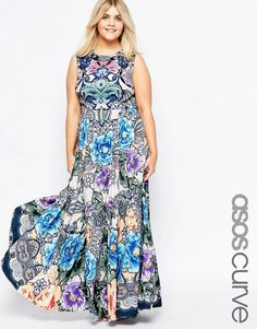 ASOS CURVE Maxi Dress in Floral Paisley Print