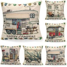 45x45cm Happy Campers Linen Square Throw Pillowcase Cushion Cover Home Bed Sofa Decor