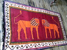 Hand Knotted Persian Rug Gabbeh double  lion motif  6.2 by 3.9