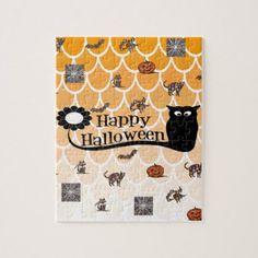 Happy Halloween emoji Jigsaw Puzzle - cat cats kitten kitty pet love pussy