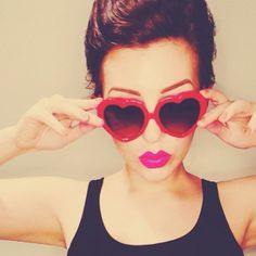 Statigram – Instagram webviewer Heart Shaped Glasses, Hot Pink Lips, Lip Tar, Cute Sunglasses, Heart Day, It Goes On, Beauty Editorial, Heart Shapes, Eyewear