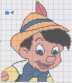 Gallery.ru / Фото #31 - MIX - amery1 Filet Crochet Charts, Knitting Charts, C2c Crochet Blanket, Crochet Baby, Pinocchio Disney, Pixel Art Templates, Disney Cross Stitch Patterns, Walt Disney, Disney Stitch
