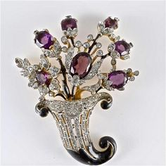 "The magnificent ""Flowering Cornucopia"" brooch designed by Alfred Philippe for 'Trifari' in the early 1940s; from one of the most sought after collections… the Empress Eugenie Collection"
