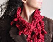 Cranberry Harvest - bobble textured hand knit crochet designer scarf knitted neckwarmer cowl wrap neckwear in juicy red - gift for her