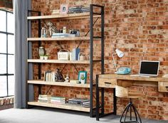 Instrument BRICK Large 5 Shelves Bookcase Reclaimed Wood And Metal U2013  INSTRUMENT FURNITURE