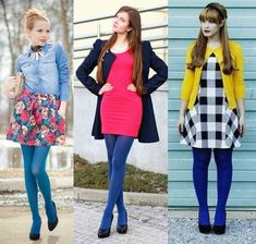 Colored Tights Outfit, Blue Tights, Wool Tights, Nylons, Pantyhose Outfits, Quirky Fashion, Colorful Fashion, Fashion Tights, Fashion Outfits